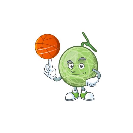 With basketball fruit melon cartoon mascot for diet vector illustration