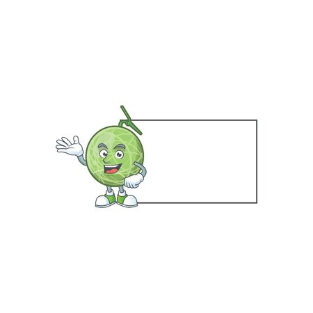 With board fruit melon cartoon mascot for diet vector illustration Illustration