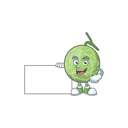 Thumbs up with board fruit melon cartoon mascot for diet vector illustration Illustration