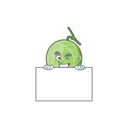 Grinning with board fruit melon cartoon mascot for diet vector illustration
