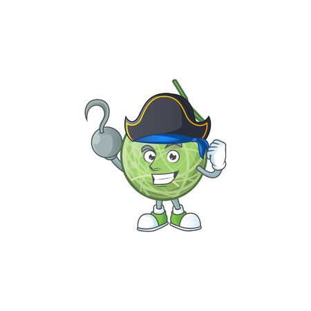 Pirate fruit melon cartoon mascot for diet vector illustration