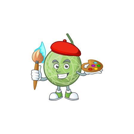 Painter fruit melon cartoon mascot for diet vector illustration Stock Illustratie