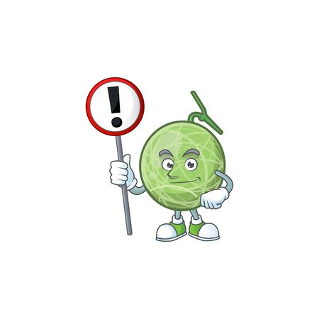With sign fruit melon cartoon mascot for diet vector illustration