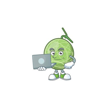 With laptop fruit melon cartoon mascot for diet vector illustration