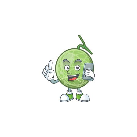 With phone fruit melon cartoon mascot for diet vector illustration