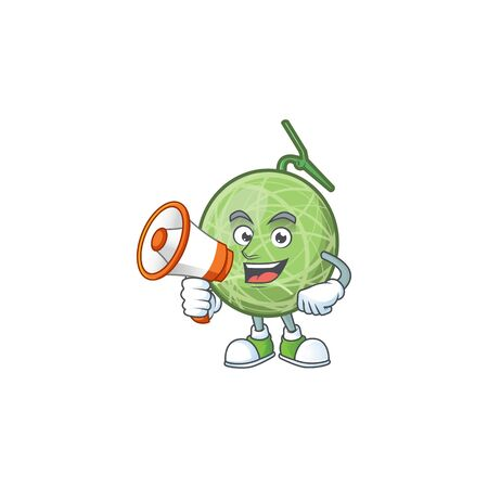 With megaphone fruit melon cartoon mascot for diet vector illustration