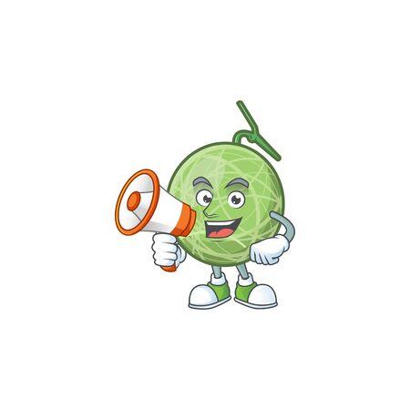 With megaphone fruit melon cartoon mascot for diet vector illustration