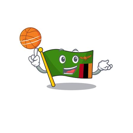 With basketball flag zambia mascot isolated with character vector illustration