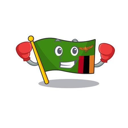Boxing flag zambia mascot isolated with character vector illustration