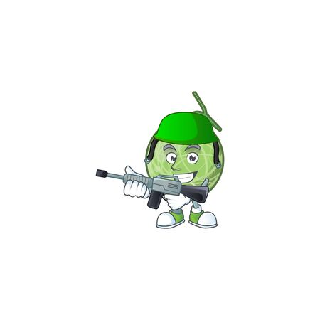 Army fruit melon cartoon mascot for diet vector illustration