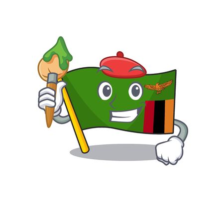 Artist flag zambia mascot isolated with character vector illustration
