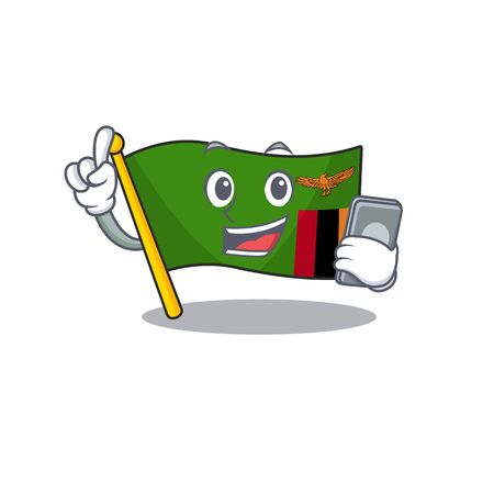 With phone flag zambia mascot isolated with character vector illustration Illustration