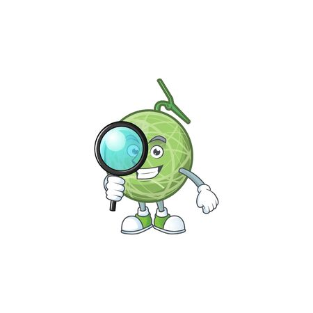 Detective melon cartoon mascot on white background. vector illustration Illustration