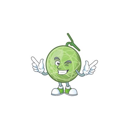 Wink melon cartoon mascot on white background. vector illustration