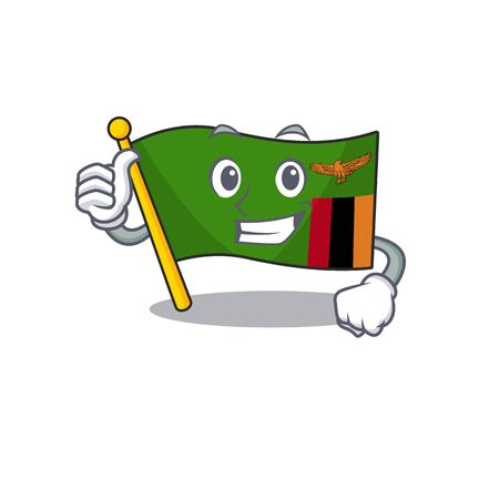 Thumbs up flag zambia shape with the cartoon vector illustration