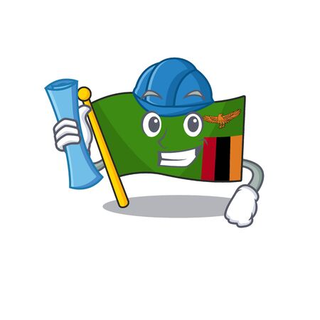 Architect flag zambia shape with the cartoon vector illustration