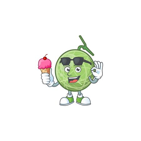 With ice cream melon cartoon mascot on white background. vector illustration