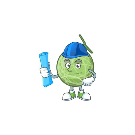 Architect melon cartoon mascot on white background. vector illustration