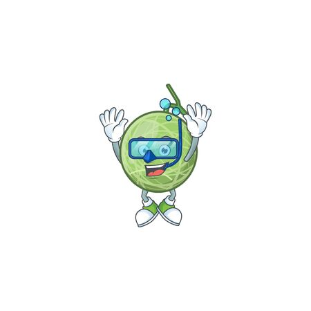 Diving melon cartoon mascot on white background. vector illustration