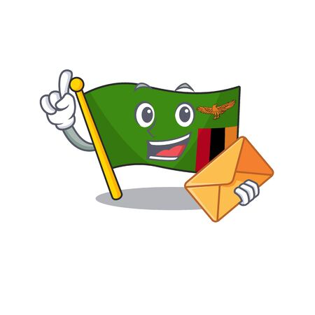 With envelope flag zambia shape with the cartoon vector illustration Çizim