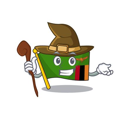 Witch flag zambia cartoon hoisted in pole vector illustration