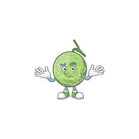 Grinning melon cartoon mascot on white background. vector illustration