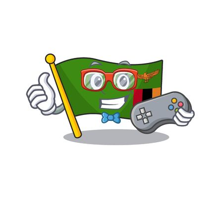 Gamer flag zambia cartoon hoisted in pole vector illustration