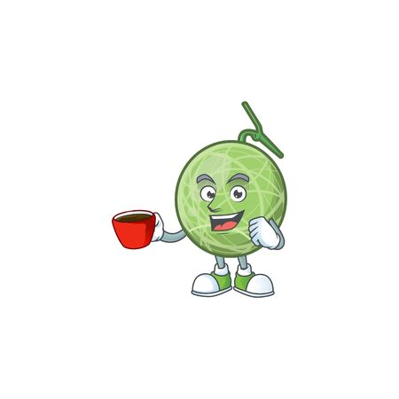 Drinking in cup melon cartoon mascot on white background. vector illustration