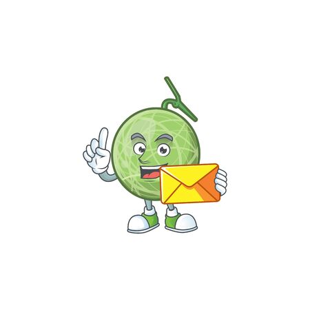 With envelope melon cartoon mascot on white background. vector illustration Illustration