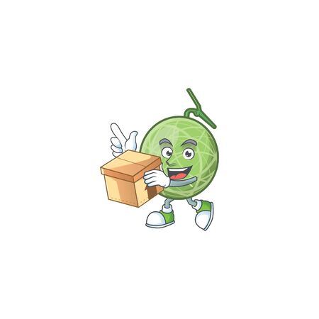 With box melon cartoon mascot on white background. vector illustration