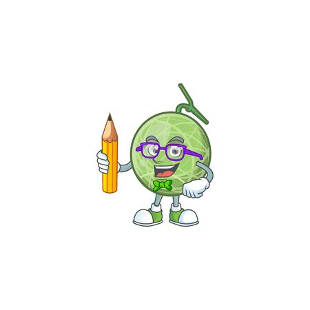 Student melon cartoon mascot on white background. vector illustration