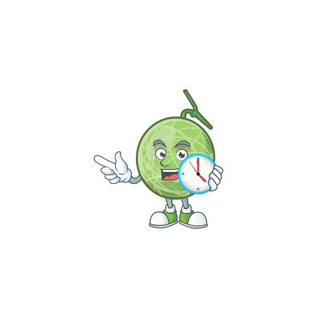 With clock melon cartoon mascot on white background. vector illustration Illustration