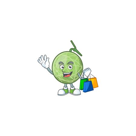Shopping melon cartoon mascot on white background. vector illustration