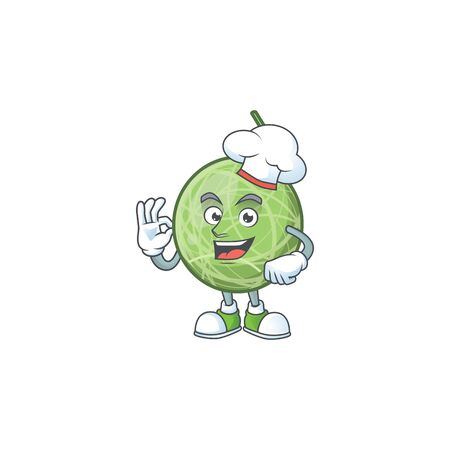 Chef melon cartoon mascot on white background. vector illustration
