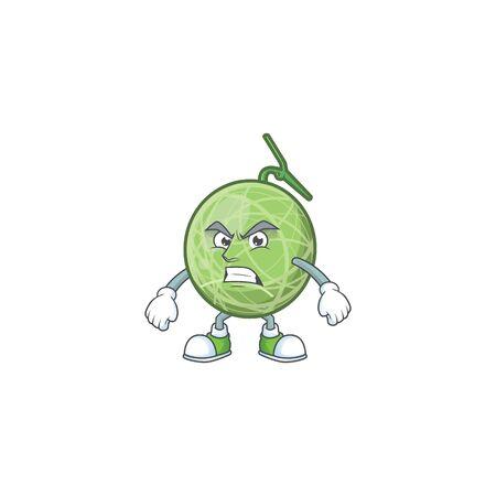 Scream melon cartoon mascot on white background. vector illustration Ilustração