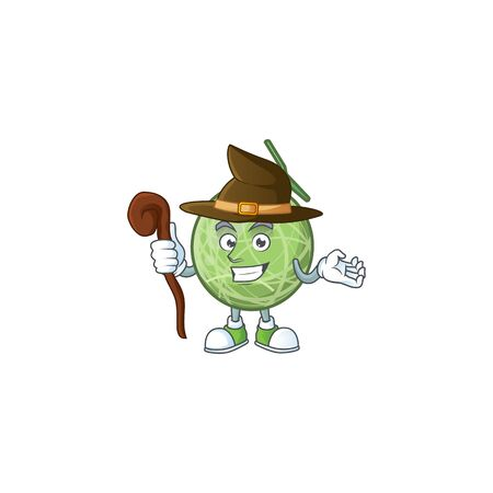 Witch sweet melon fruit character mascot shape. vector illustration