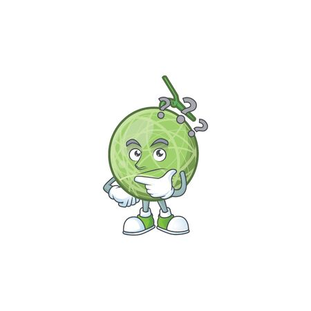 Thinking sweet melon fruit character mascot shape. vector illustration