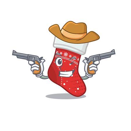 Cowboy christmas stocking cartoon folded in cupboard vector illustration Çizim