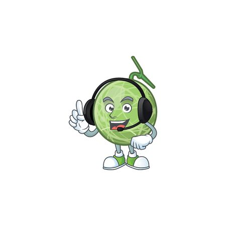 With headphone design melon cartoon character for fruit. vector illustration Illustration