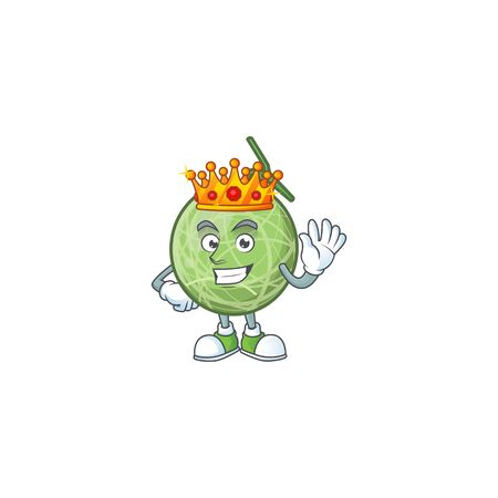King design melon cartoon character for fruit. vector illustration