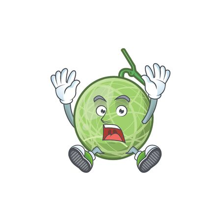 Successful melon cartoon mascot on white background. vector illustration