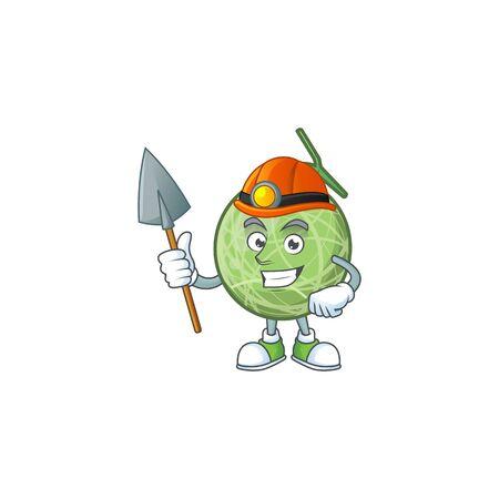 Miner sweet melon fruit character mascot shape. vector illustration