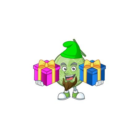 Bring two gifts design melon cartoon character for fruit logo. vector illustration