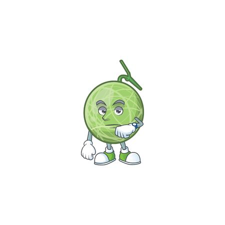 Waiting design melon cartoon character for fruit. vector illustration