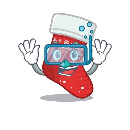 Diving christmas stocking isolated in the mascot vector illustration