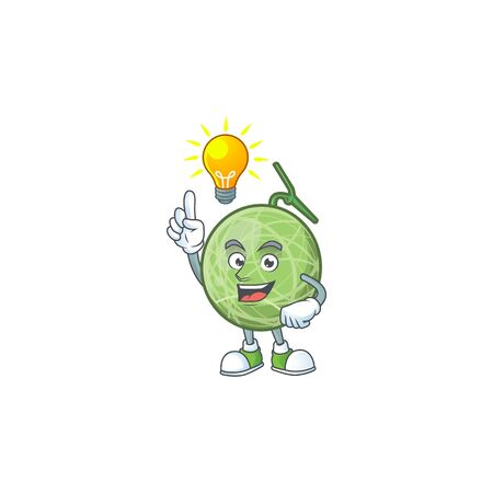 Have an idea design melon cartoon character for fruit. vector illustration Illustration