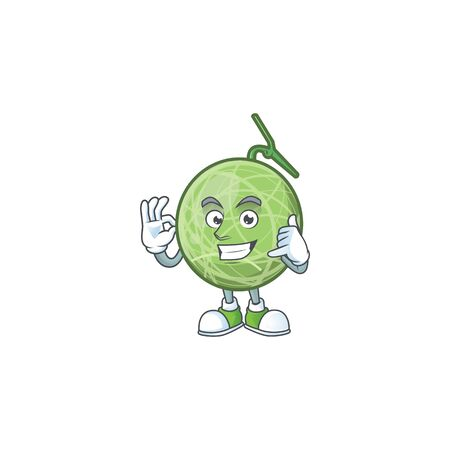 Call me design melon cartoon character for fruit. vector illustration
