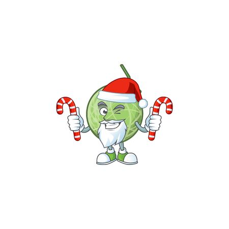 Santa with candy design melon cartoon character for fruit. vector illustration