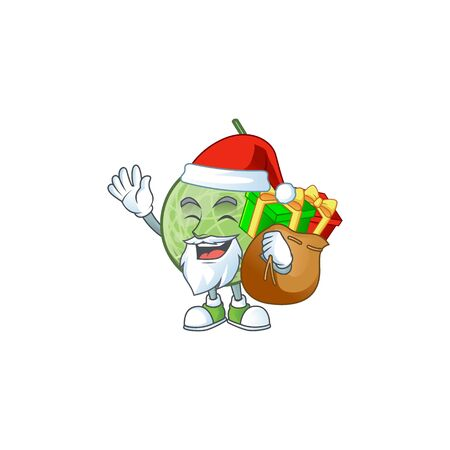 Santa with gift design melon cartoon character for fruit. vector illustration