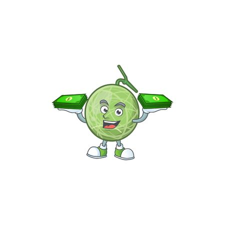With money bag sweet melon fruit character mascot shape. vector illustration